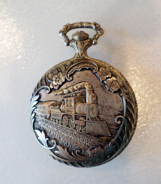Vintage Majestron Quartz Pocket Watch Gold Tone Train And Floral