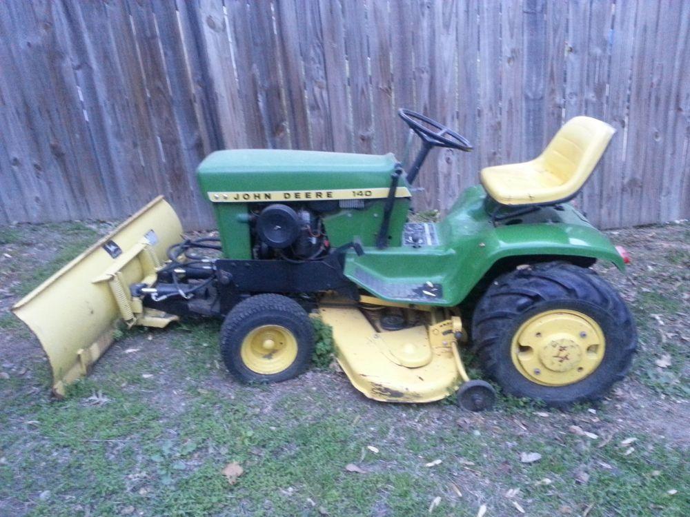 Vintage John Deere 140 H3 Tractor Hydraulic Blade Deck Tiller Wheel Weights  RUNS