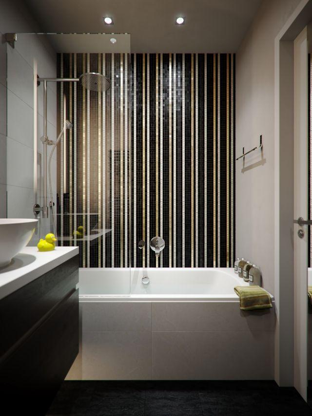 kleine bäder einrichten-vertikale-streifen-mosaik-gold-schwarz, Innenarchitektur ideen
