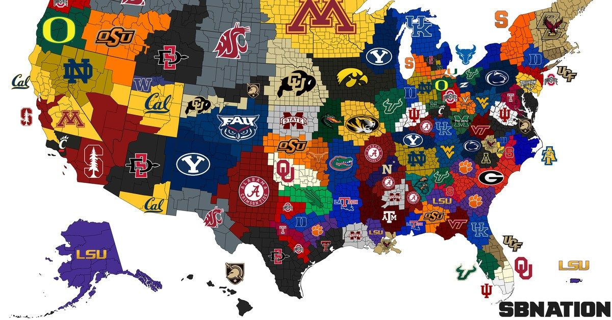 The College Football Empires Map Where An Army Of Tigers Is The New No 1 In Land Welcome T College Football Map College Football Games College Football Logos