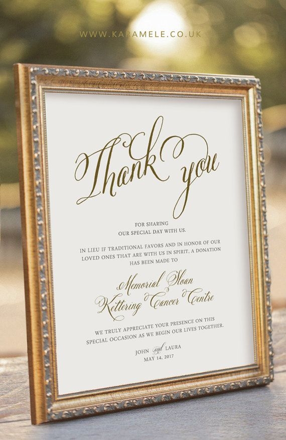 Printable Wedding Donation Sign In Lieu Of Traditional Favors