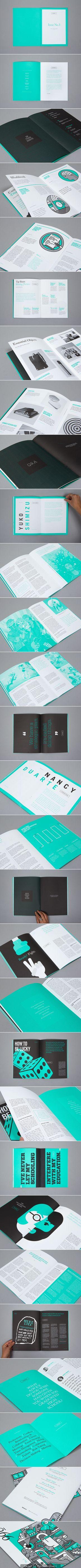 99U Quarterly Magazine Issue No3.  Buen contraste de colores, contraste en las tipografías, gráficos impecables, y sobre todo buen uso del espacio en blanco.
