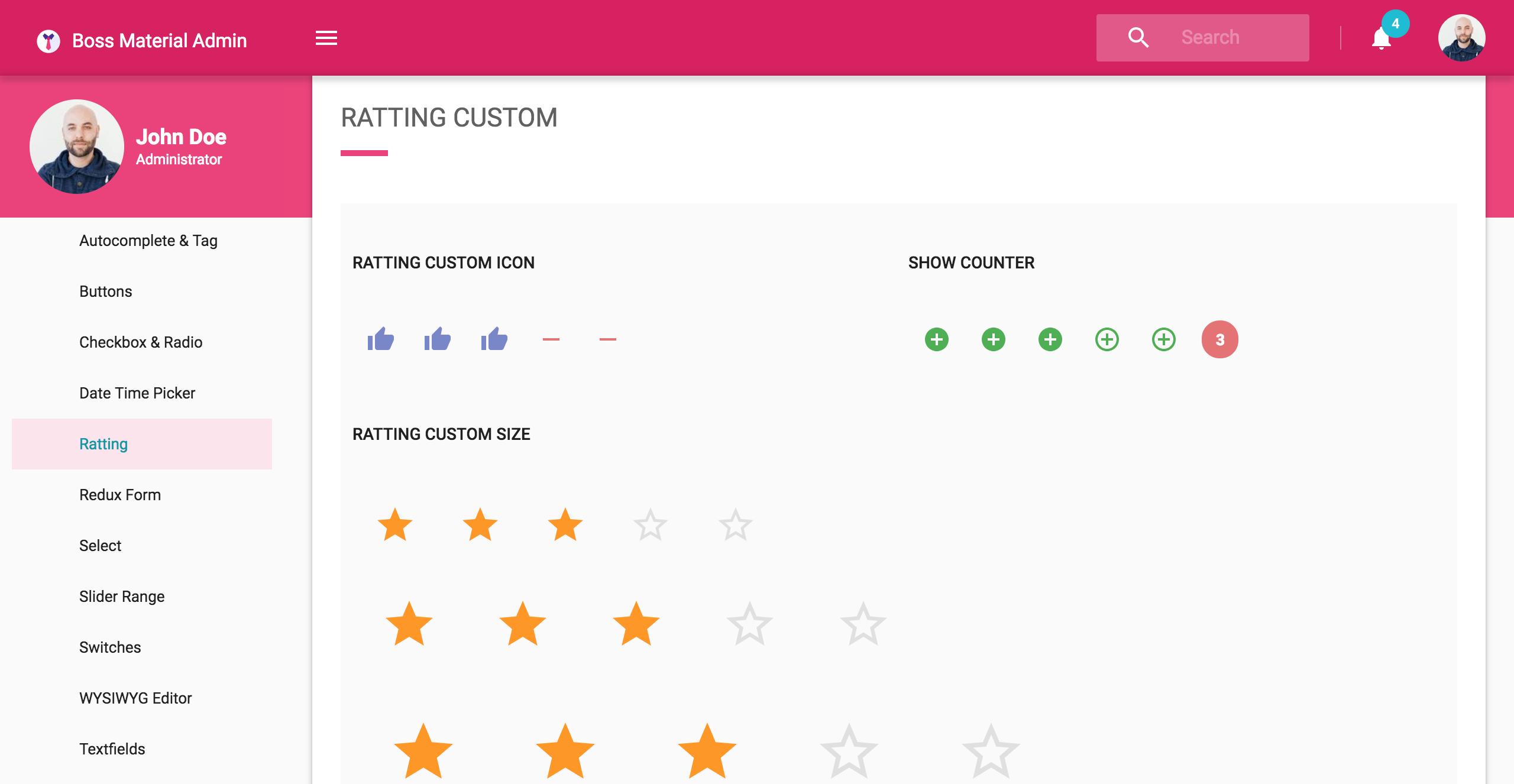 Boss Ultimate React Admin Template Material Design