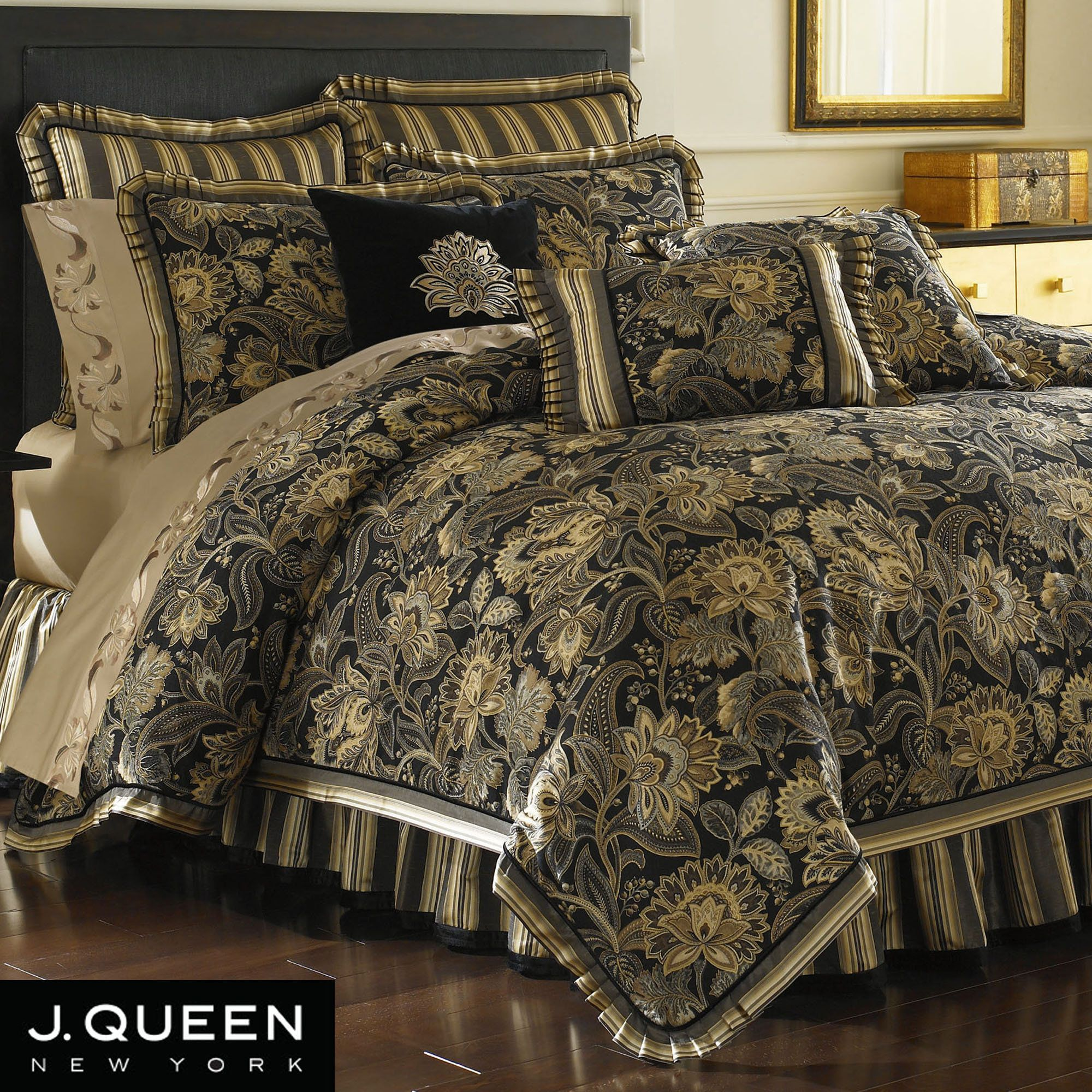 Queen new york luxembourg comforter set in antique silver bed - Queen New York Alicante Comforter Set Bed Bath Beyond