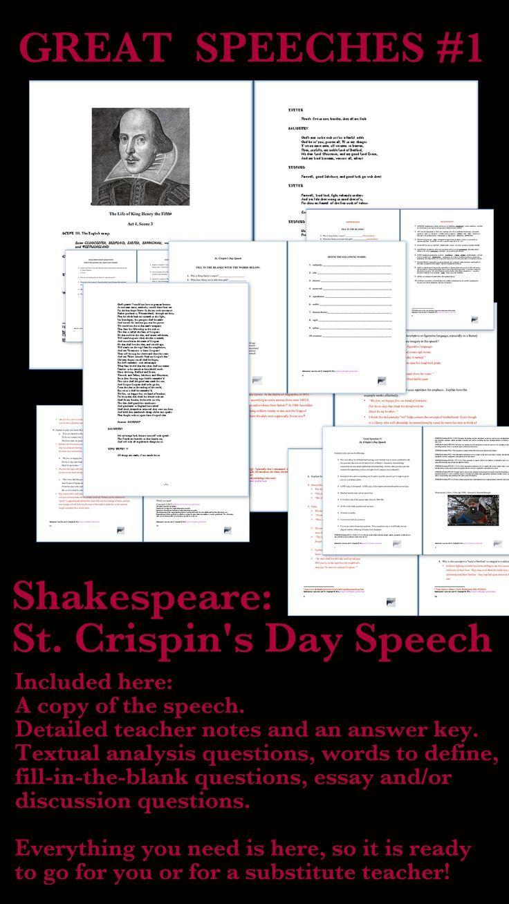 November 11 Remembrance Day Veteran St Crispin S Speech Teacher Note Teaching Shakespeare Sonnet 27 Analysis