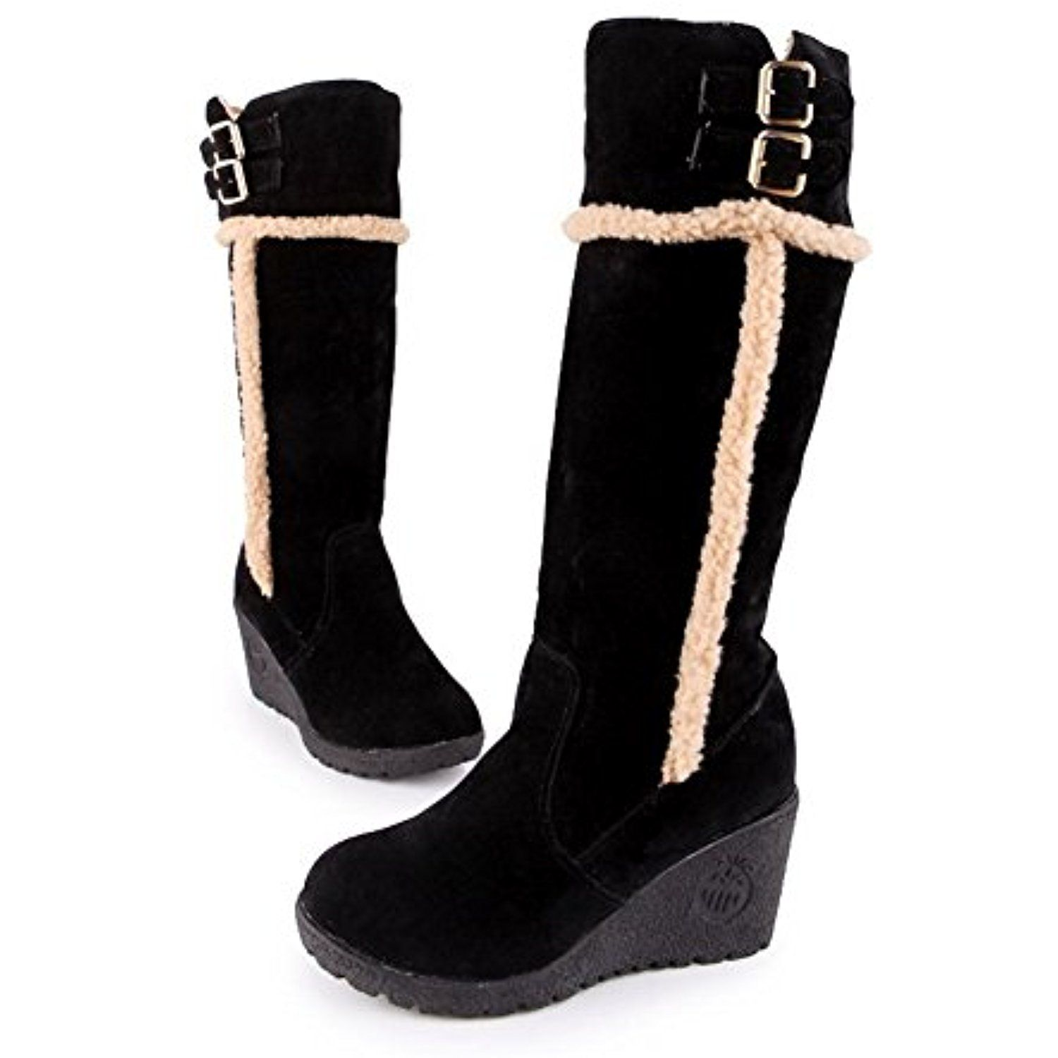 Womens Closed Round Toe High Heel Wedge Short Plush Imitated Suede Frosted Solid Boots