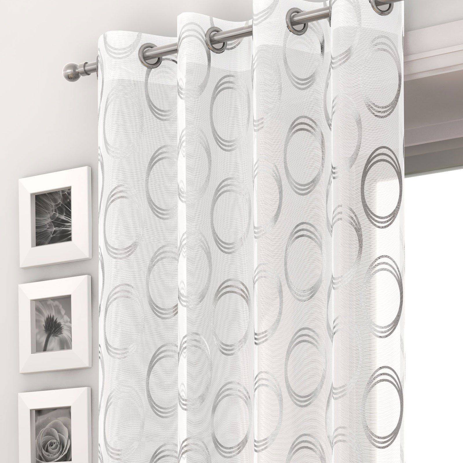 Mexico White Sheer Voile Panel With Silver Circle Pattern Pasx