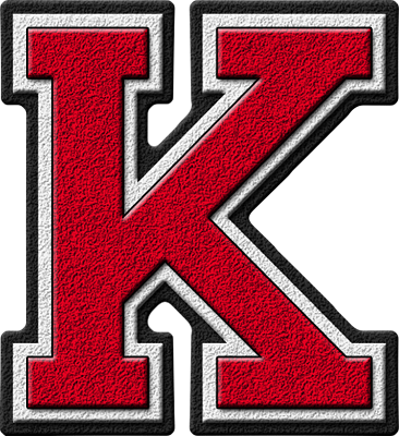 Presentation Alphabets Cardinal Varsity Letter K K