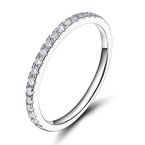 Eamti 2mm 925 Sterling Silver Wedding Band Cubic Zirconia Half Eternity Stackable E In 2020 Silver Wedding Bands Stackable Engagement Ring Sterling Silver Wedding Band