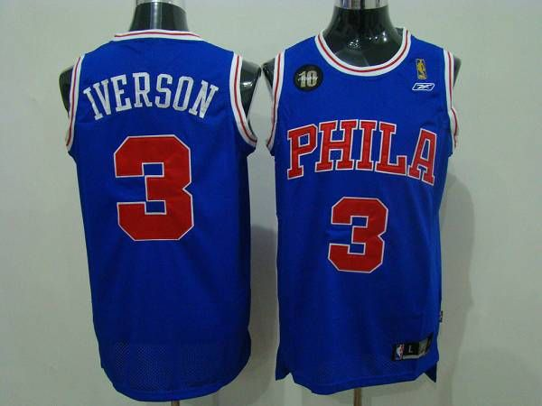 half off 0f14d 6bc2c 76ers #3 Allen Iverson Blue Reebok 10TH Throwback Stitched ...