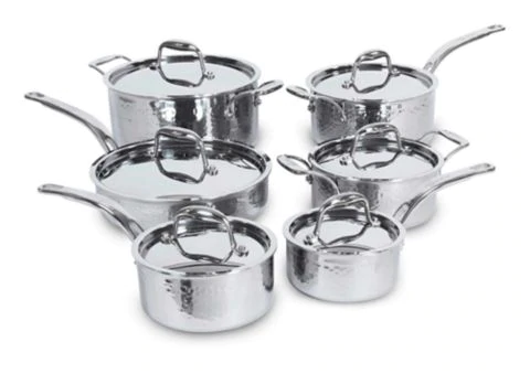 Lagostina Artiste Clad Hand Hammered Design Cookware Set 12 Pc