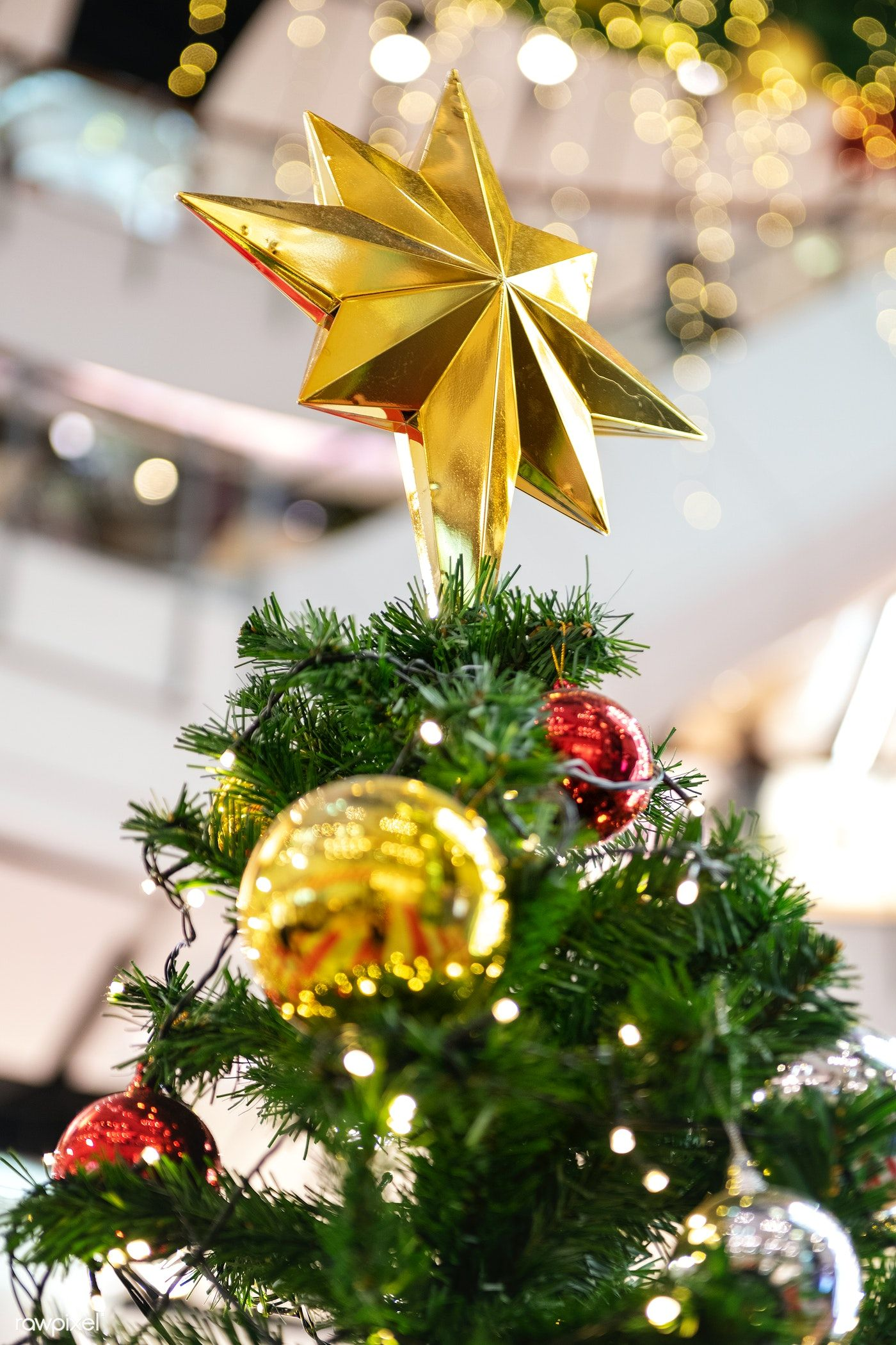 Gold Christmas Star On Top Of A Christmas Tree Free Image By Rawpixel Com Teddy Rawpixel In 2020 Gold Christmas Christmas Star Christmas Tree