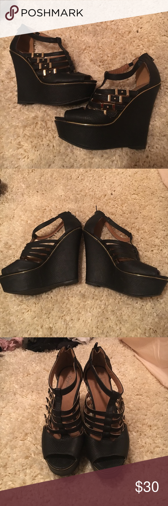 Black and Gold Buckled Wedges Super cute. Only worn a couple of times. Great condition! Qupid Shoes Wedges
