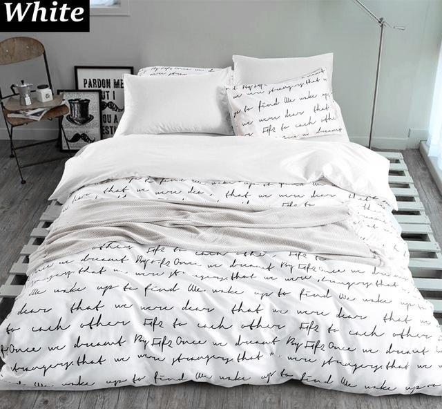 Printed Letter Soft Cozy 3 To 7 Pc Linen Cotton Bedding Set 4