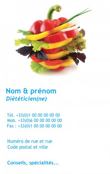 Carte De Visite Verticale Dietetique Creez Gratuitement A Partir Modele En Ligne Votre