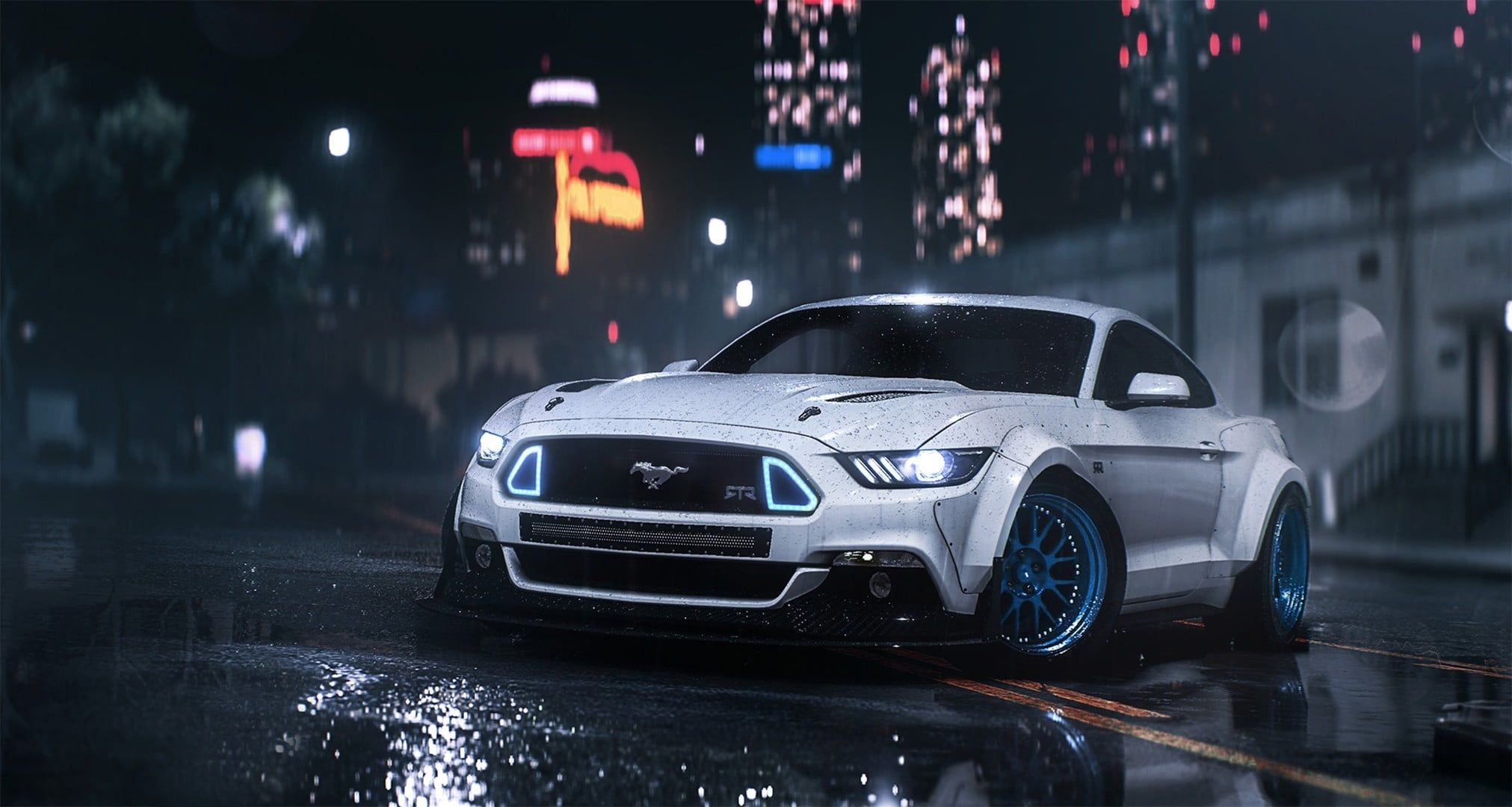 White Ford Mustang Vehicle Car Ford Mustang Need For Speed 1080p Wallpaper Hdwallpaper Desktop In 2020 Mustang Wallpaper Ford Mustang Wallpaper New Ford Mustang