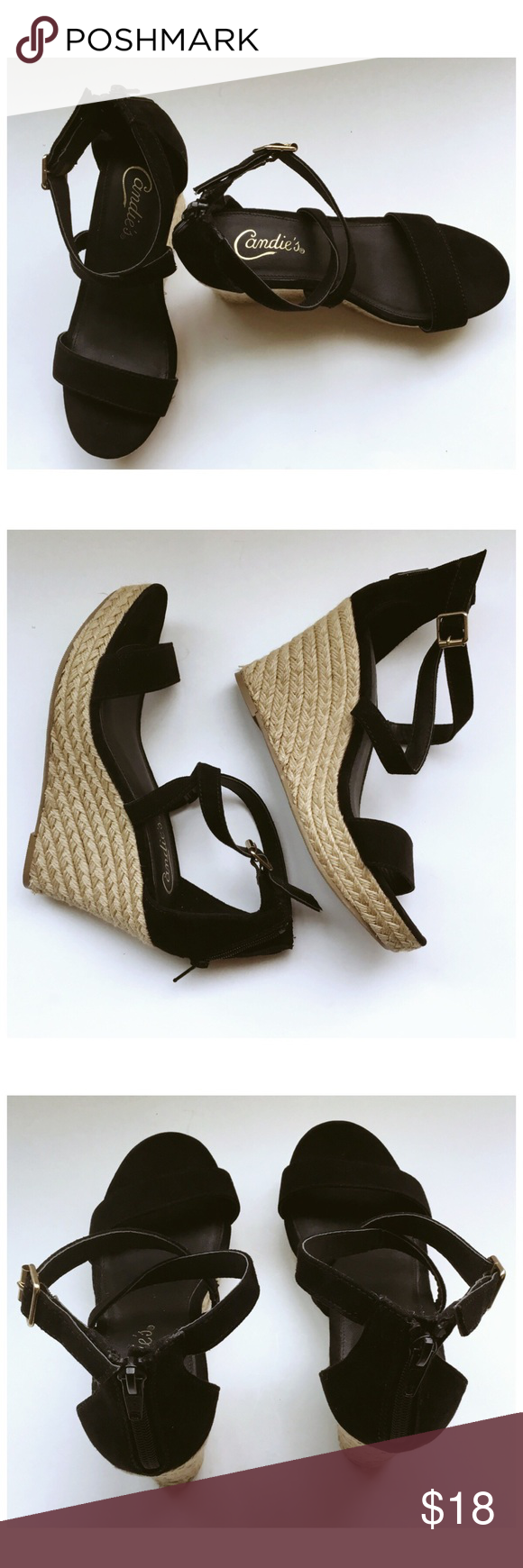 6396e3c41906a8 Candie s wedge heels size 7 Candie s suede Sandal with rope wedge heel has  a little wear shown in last picture. Size 7 Candie s Shoes Sandals
