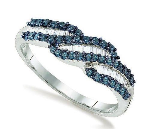 Fabulous! .925 Sterling Silver Blue & White Round & Baguette Diamond Ring .56ct #Fashion