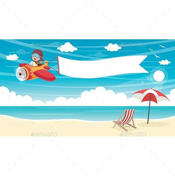 Vector Illustration of Kid Flying Plane With Banner