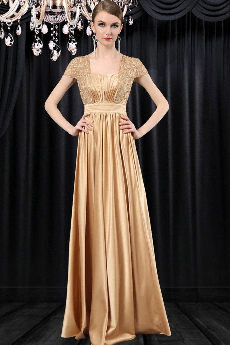 Formal Sequare Neck Cap Sleeve Long Gold Satin Lace Mother Of The ...