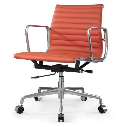 Cowan Low Office Chair In Orange Italian Leather Midcentury Sale