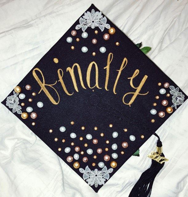 "Finally"" Graduation cap  Graduation cap decoration, Graduation"