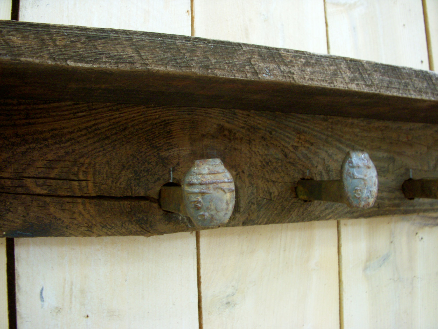 Wood Wall Coat Rack Railroad Spike Hooks Rustic Reclaimed Wood Decor 32 Barn Wood Wall Decor Barn Wood Reclaimed Barn Wood