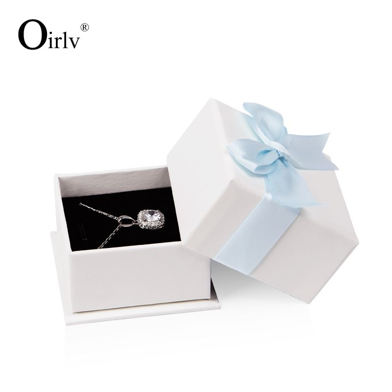 Oirlv Free Shipping Custom White And Pink Leatherette Paper Jewelry