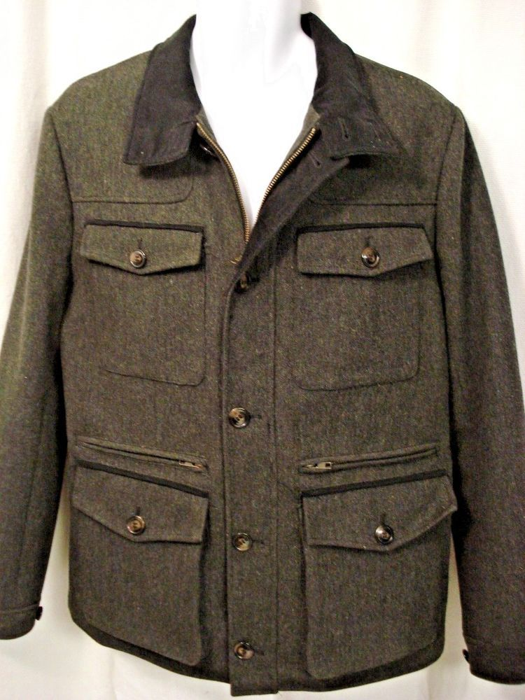 68d3be424 H&M Men's coat/Jacket Winter Wool Blend Size 44R Charcoal Gray with ...