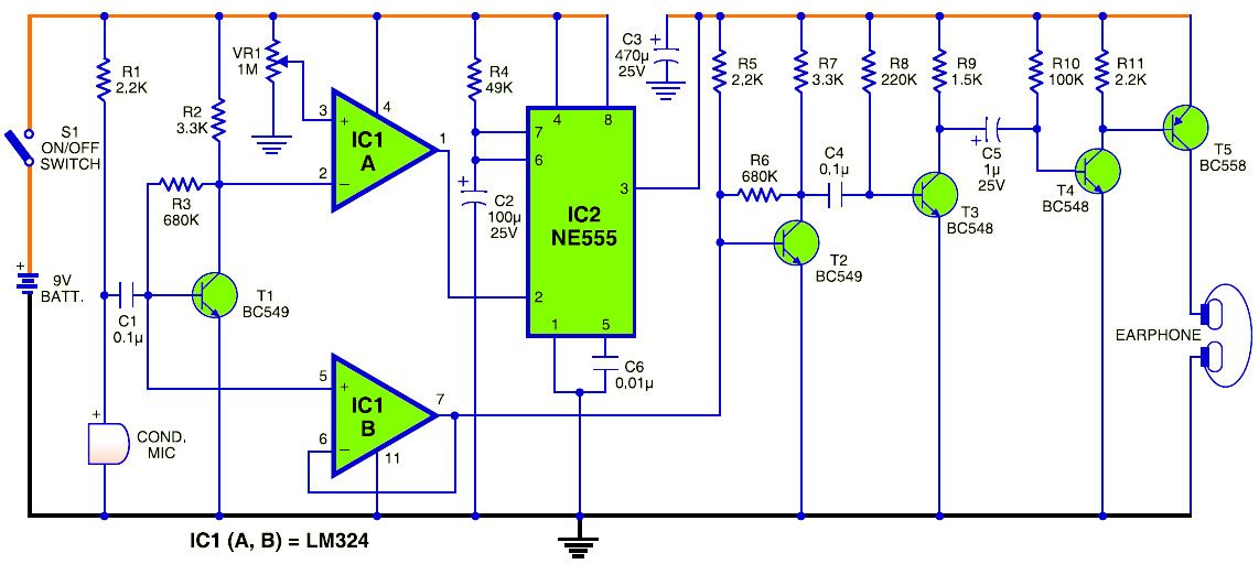 Simple Walkie Talkie Circuit Diagram Pdf - Mic Condenser Amplifier
