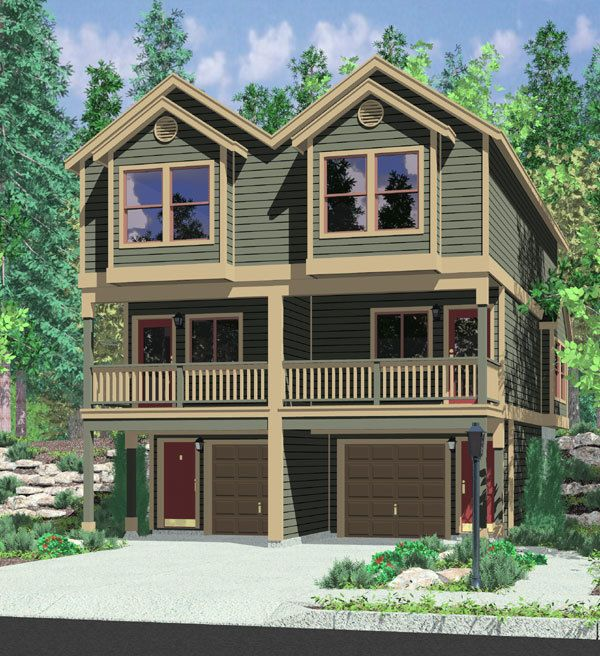 Plan 38020lb Duplex Plan For The Sloping Lot Duplex Plans Duplex Floor Plans Duplex House Plans