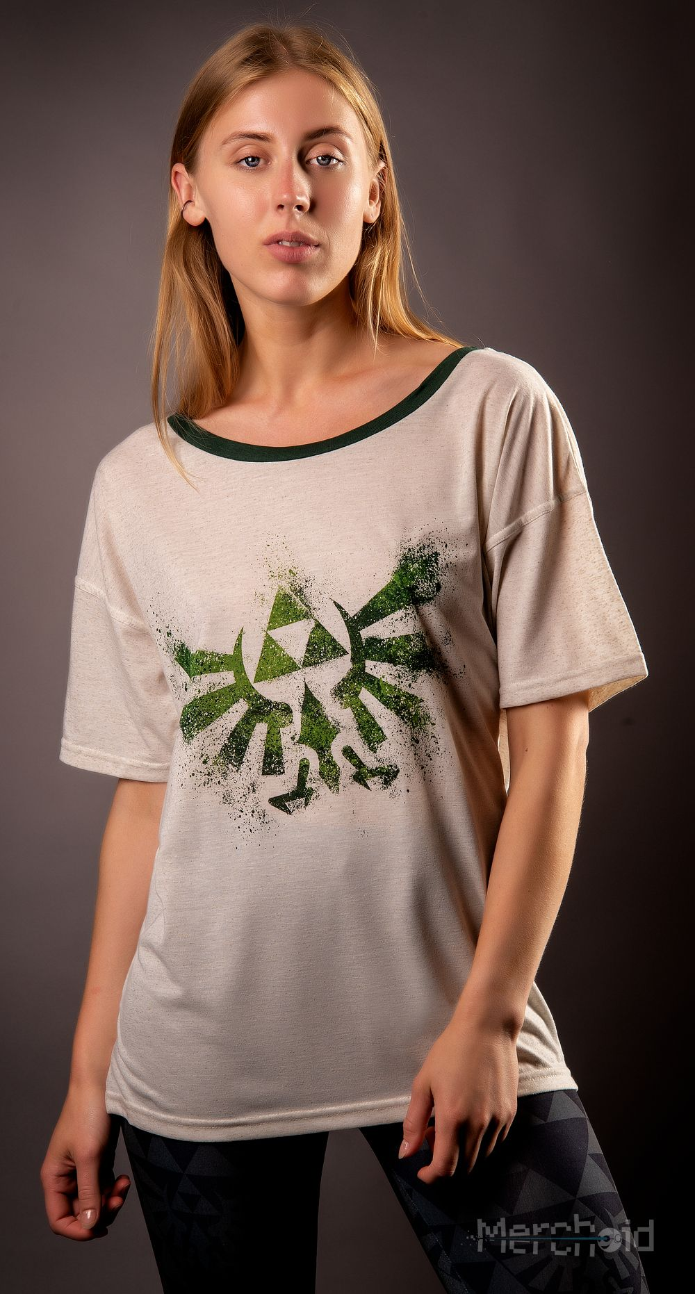 Zelda hylian crest off shoulder ladies tshirt legend of zelda