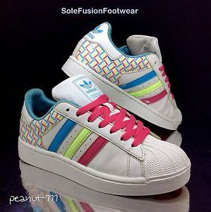 new arrivals d183f 79dde adidas Superstar Womens Trainers White Pink sz 5 Girls Patent Sneakers US  6.5 38   eBay