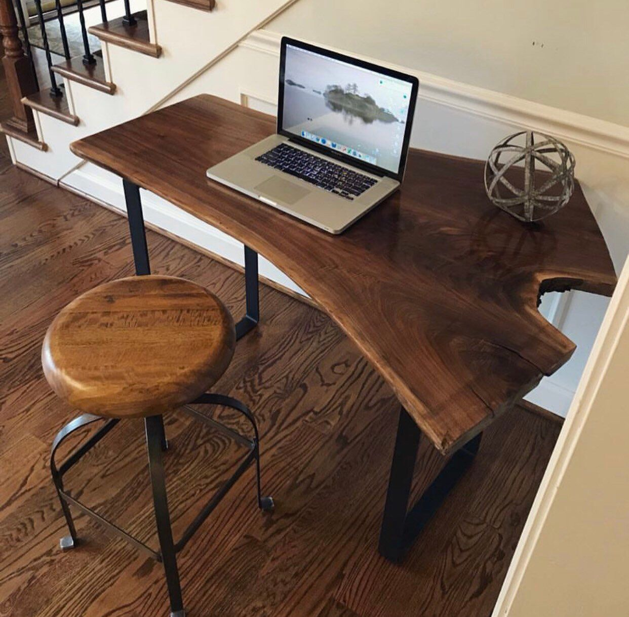 Custom Black Walnut Desk Live Edge Desk Walnut Desk Computer Desk Live Edge Slab Slab Desk Walnut Table By Allth Live Edge Desk Walnut Desks Slab Desk