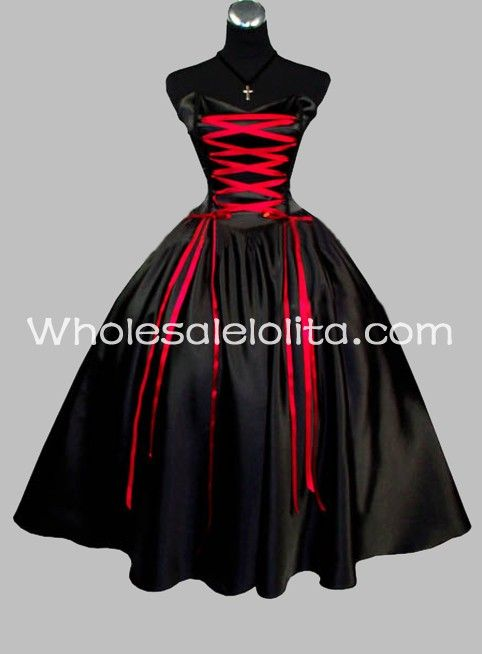 b6e25cb6dc Gothic Black and Red Sleeveless Satin Lace Up Victorian Prom Dress