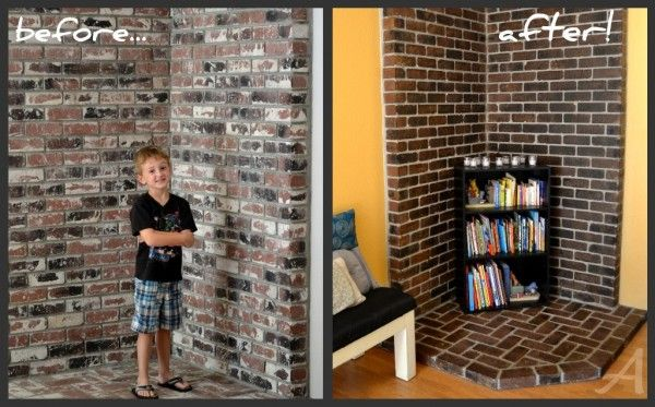 How To Update A Brick Fireplace Diy Stained