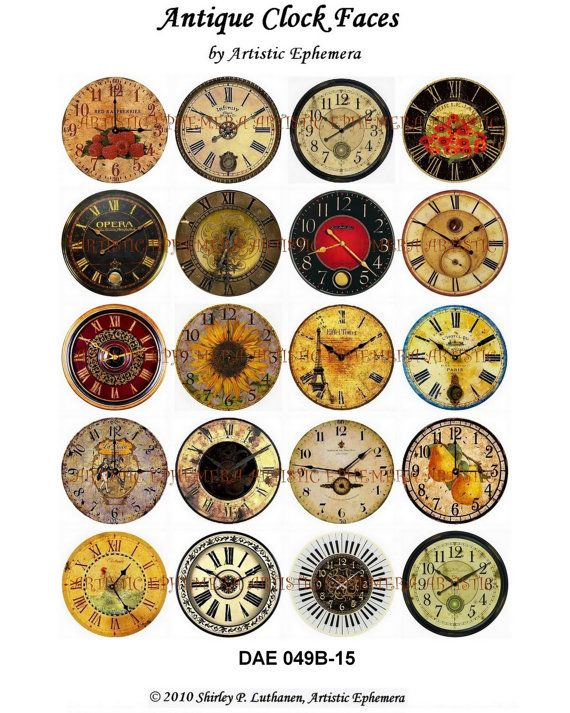 DAE049B Antique Clock Faces II - Digital Collage Sheets ...