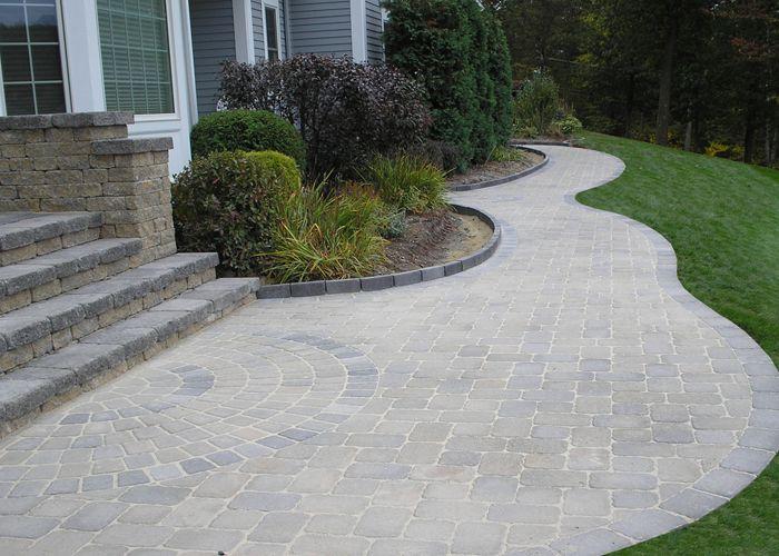 Townhouse Interlock Design Curved Walkway Google Search Patio Stones Front Garden Dream Backyard