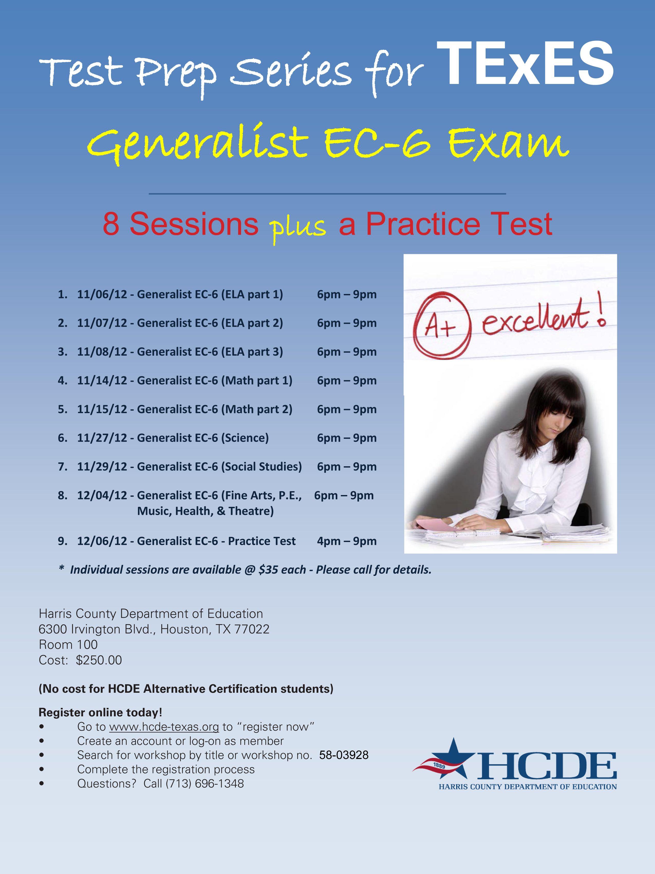 Get ready for the ec 6 generalist teacher certification exam with get ready for the ec 6 generalist teacher certification exam with hcde register at xflitez Choice Image