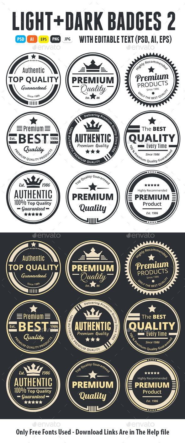 Nine scalable vector badges in light and dark colors 100 percent authentic original premium quality guarantee highly recommended top quality badges