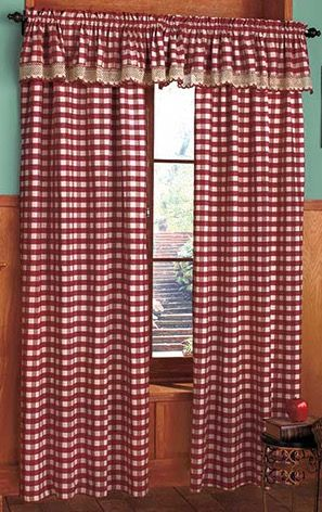 Red White Gingham Curtains With Valance