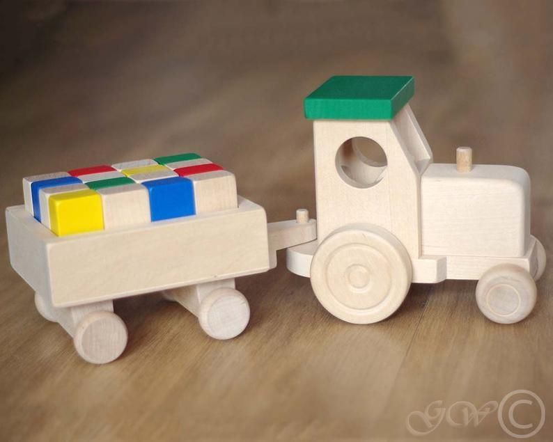 Photo of Wooden Tractor with Trailer, Wooden Blocks, Wooden Toy, Tractor with Blocks Z412