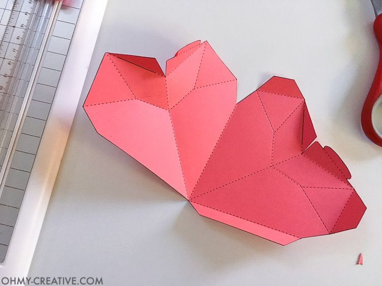 How to Make a 3D Paper Heart Box | Heart origami, Free printable ...