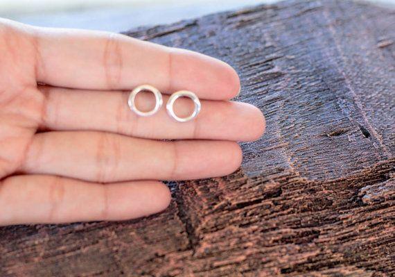 Silver Circle Earrings Sterling By Karlasdesign 15 00