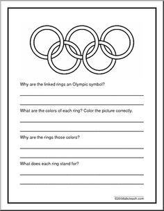 report form olympic rings answer the targeted questions about the olympic rings and color