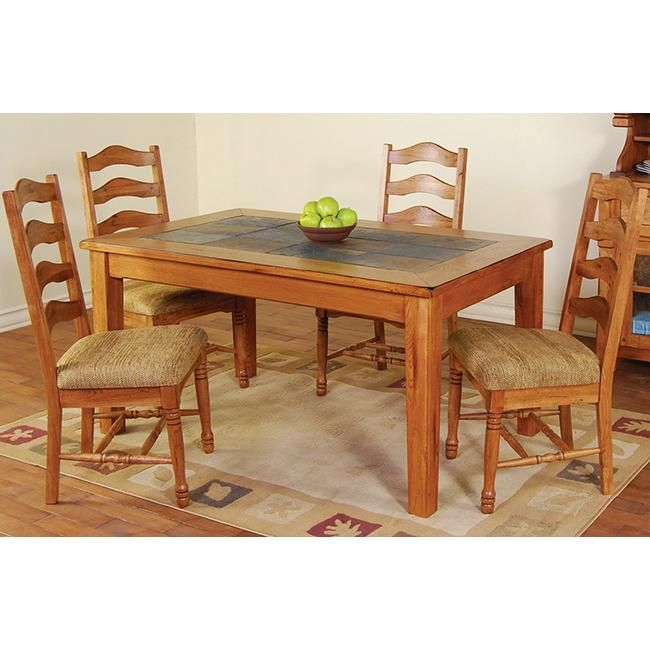 Rustic Oakslate Top Dining Table With Images Dining Table