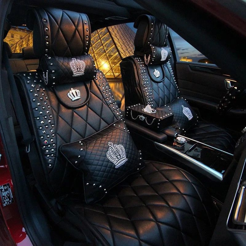 Bling Crown Car Accessories Set Neck Pillow Visor Organizor Tissue Box Gear Shift Braker Cover Note The Seat Is Separately Listed Here
