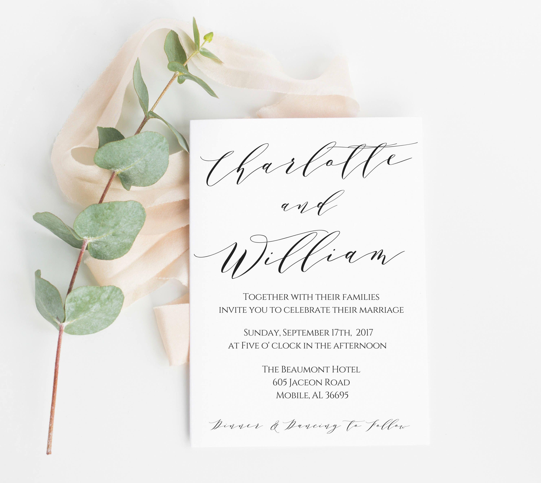 Wedding Invitation Wedding Invitation Template Invitation Download Calligraphy Wedding Invite