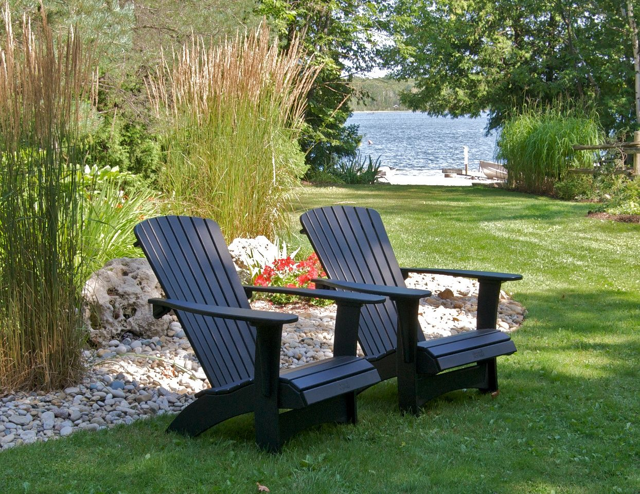 Maintenance free #Muskoka chairs in the garden! Midnight Black ...