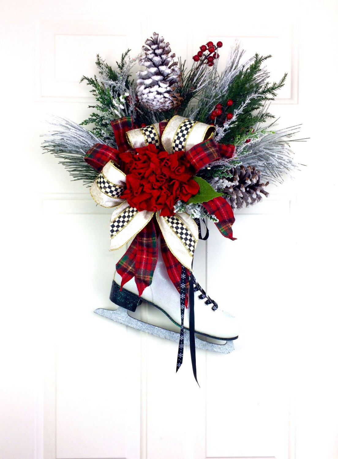 Christmas Wreath MacKenzie Childs Courtly Check Ribbon Vintage Ice ...